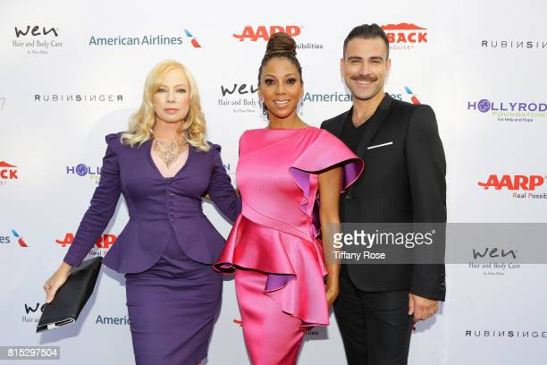 Actress Traci Lords host Holly Robinson Peete and designer Rubin Singer at HollyRod Foundation's DesignCare Gala on July 15 2017 in Pacific Palisades...