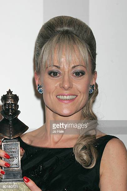 Actress Tracie Bennett winner of best performance in asupporting role in a musical for hairspray pose in the awards room at the Laurence Olivier...