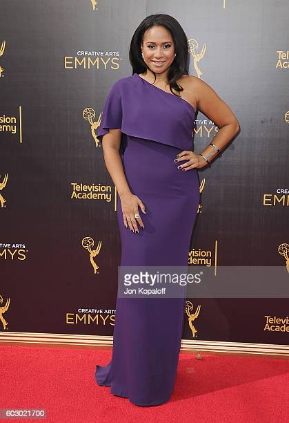 Actress Tracie Thoms arrives at the 2016 Creative Arts Emmy Awards at Microsoft Theater on September 11 2016 in Los Angeles California