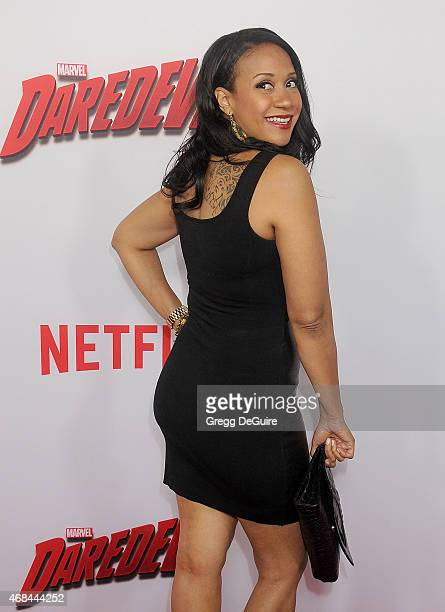 Actress Tracie Thoms arrives at the premiere Of Netflix's 'Marvel's Daredevil' at Regal Cinemas LA Live on April 2 2015 in Los Angeles California