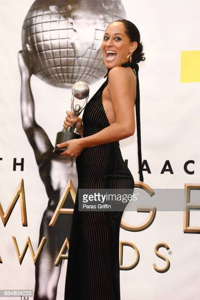 Actress Tracy Ellis Ross poses in the press room at the 48th NAACP Image Awards at Pasadena Civic Auditorium on February 11 2017 in Pasadena...