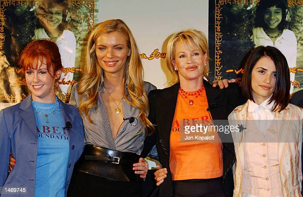 Actress Tracy Griffith supermodel Esther Canadas actress Melanie Griffith and actress Penelope Cruz speak at the press conference for the Sabera...