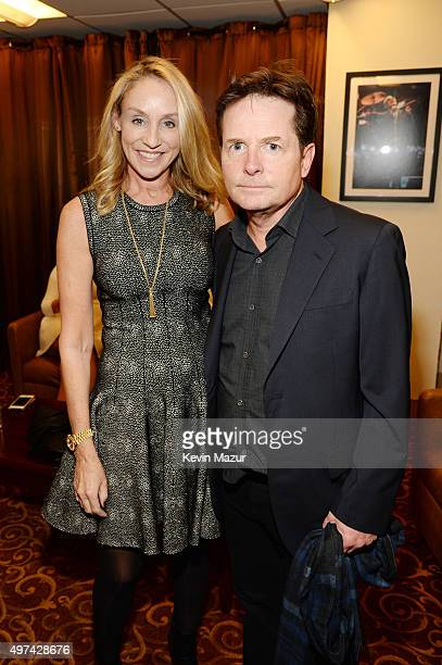 Actress Tracy Pollan and actor Michael J Fox attend as Baby Buggy celebrates 15 years with An Evening with Jerry Seinfeld and Amy Schumer presented...
