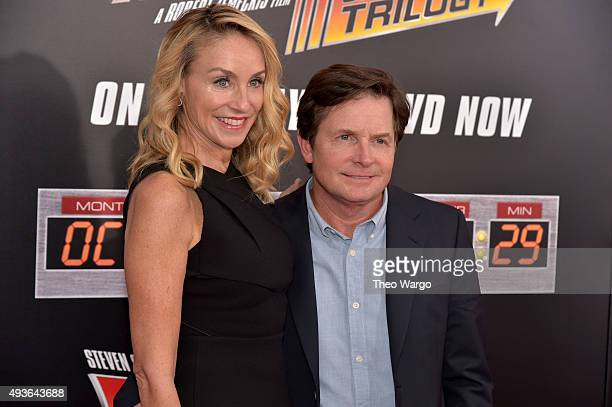 Actress Tracy Pollan and Actor Michael J Fox attend the Back To The Future New York special anniversary screening at AMC Loews Lincoln Square on...