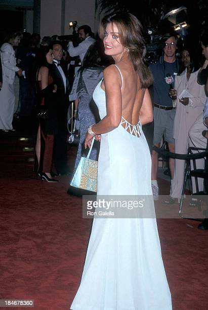 Actress Tracy Scoggins attends Milton Berle's 90th Birthday Party on July 12 1998 at the Beverly Hilton Hotel in Beverly Hills California