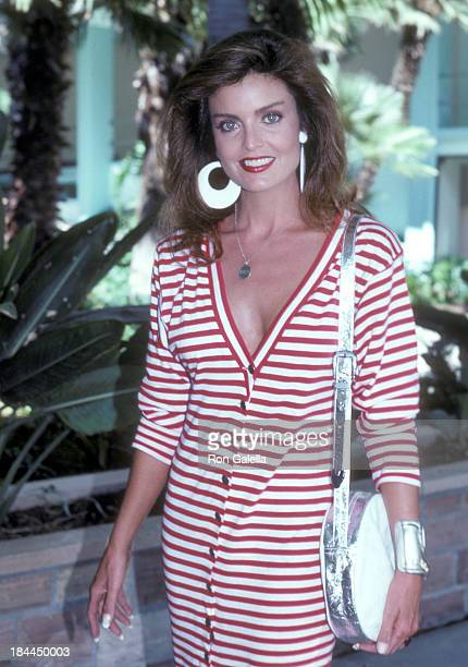 Actress Tracy Scoggins attends The Colbys Season Two Premiere Cocktail Reception on August 15 1986 at the Hollywood Roosevelt Hotel in Hollywood...