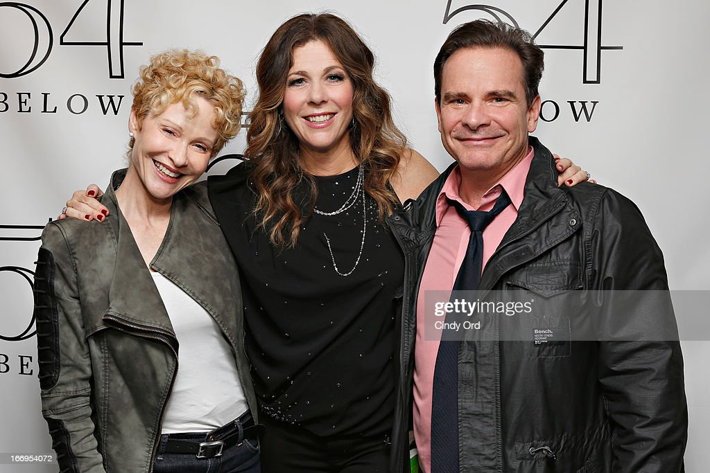Actress Tracy Shayne (L) and actor Peter Scolari (R) pose with actress/ singer Rita Wilson (C) following her performance at 54 Below on April 18, 2013 in New York City.
