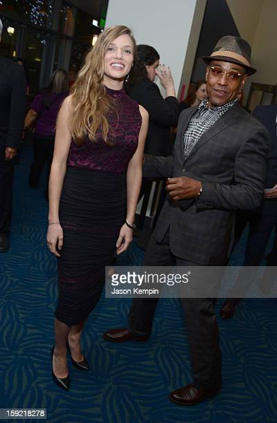 Actress Tracy Spiridako and actor Giancarlo Esposito backstage at the 39th Annual People's Choice Awards at Nokia Theatre LA Live on January 9 2013...