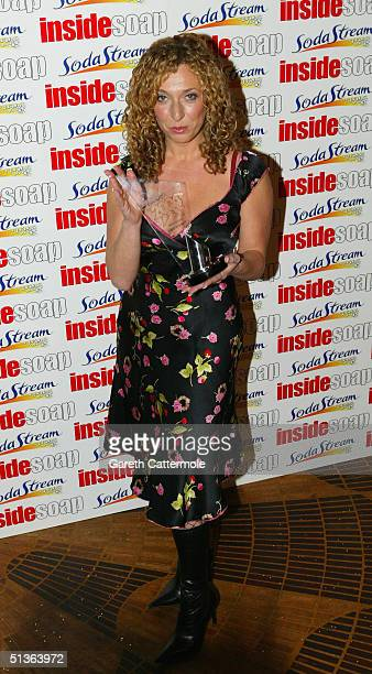 Actress TracyAnn Oberman poses backstage during the 'Inside Soap Awards Party' at La Rascasse Cafe Grand Prix September 27 2004 in London...