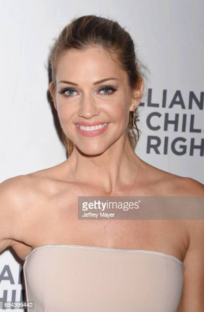 Actress Tricia Helfer arrives at the Alliance For Children's Rights 25th Anniversary Celebration at The Beverly Hilton Hotel on March 16, 2017 in...