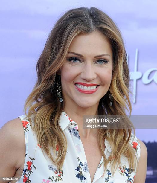 Actress Tricia Helfer arrives at the Hallmark Channel and Hallmark Movies and Mysteries Summer 2016 TCA Press Tour Event on July 27 2016 in Beverly...