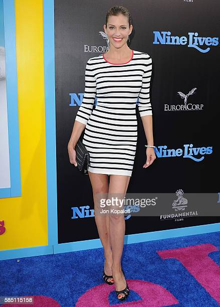 Actress Tricia Helfer arrives at the Los Angeles Premiere 'Nine Lives' at TCL Chinese Theatre on August 1 2016 in Hollywood California