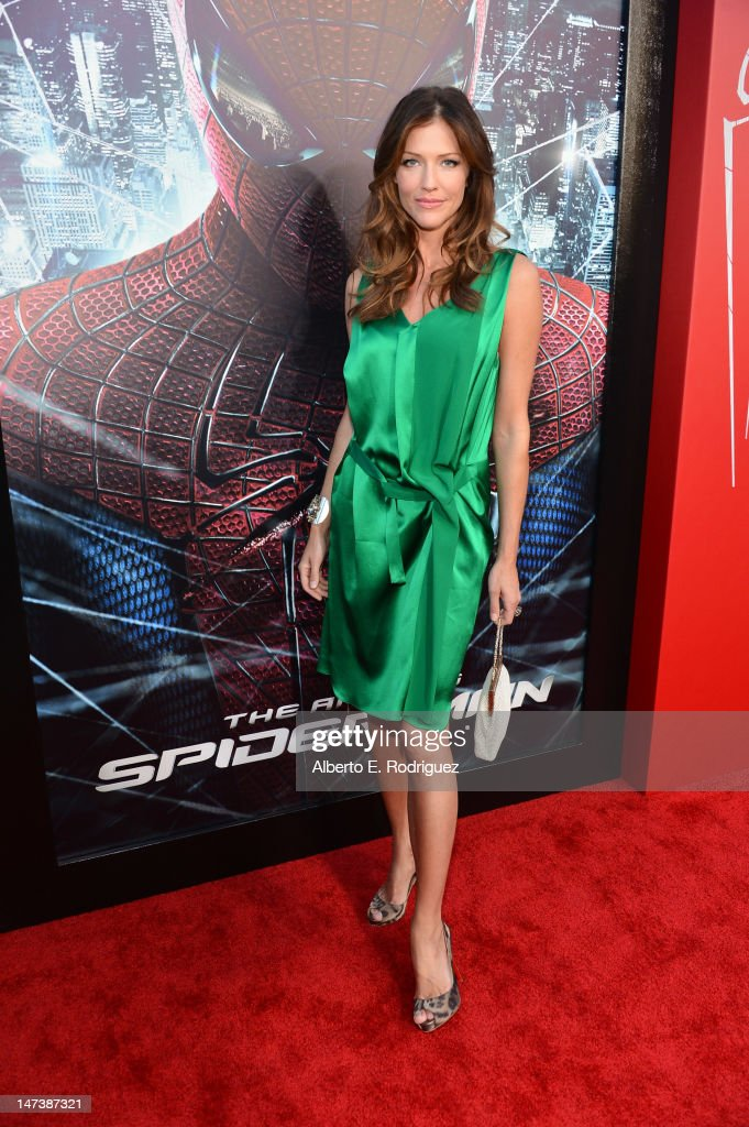 Actress Tricia Helfer arrives at the premiere of Columbia Pictures' 'The Amazing Spider-Man' at the Regency Village Theatre on June 28, 2012 in Westwood, California.