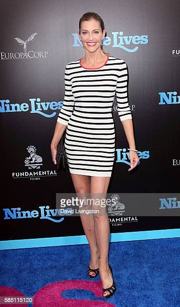 Actress Tricia Helfer attends the premiere of EuropaCorp's Nine Lives at the TCL Chinese Theatre on August 1 2016 in Hollywood California