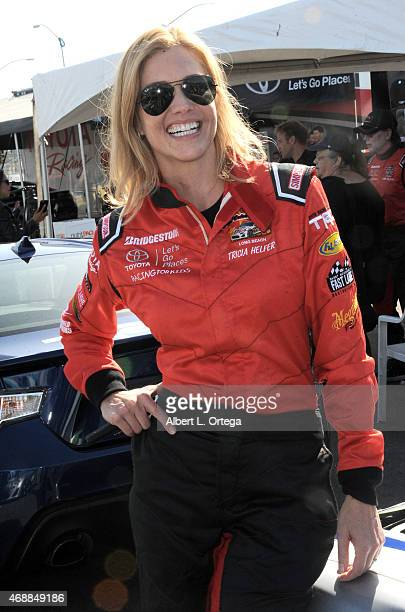 Actress Tricia Helfer participates in press day for Pro/Celebrity Race at Toyota Grand Prix of Long Beach on April 7 2015 in Long Beach California