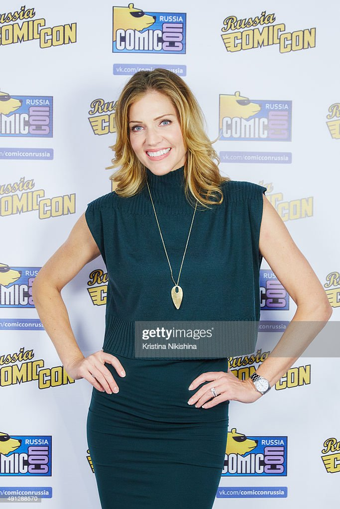 Actress Tricia Helfer poses for a photograph during Comic Con Russia 2015 on October, 4 in Crocus Expo Exhibition Center in Moscow, Russia.
