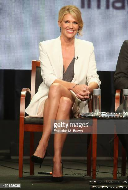 Actress Tricia Helfer speaks onstage at the 'Ascension' panel during the NBCUniversal Syfy portion of the 2014 Summer Television Critics Association...