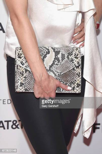 Actress Trieste Kelly Dunn bag detailattends the 'Devil's Gate' screening during the 2017 Tribeca Film Festival at Cinepolis Chelsea on April 24 2017...