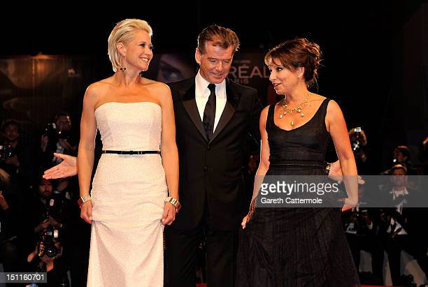 Actress Trine Dyrholm actor Pierce Brosnan and director Susanne Bier attend the Love Is All You Need Premiere during the 69th Venice Film Festival at...