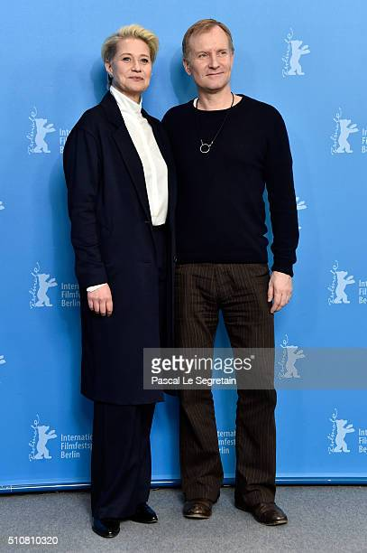 Actress Trine Dyrholm and actor Ulrich Thomsen attend the 'The Commune' photo call during the 66th Berlinale International Film Festival Berlin at...