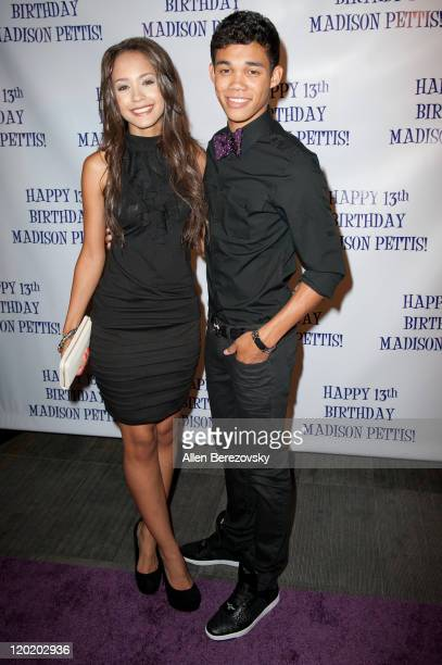 Actress Tristin Mays and actor Roshon Fegan arrive at the Madison Pettis's 13th birthday party at Eden on July 31 2011 in Hollywood California