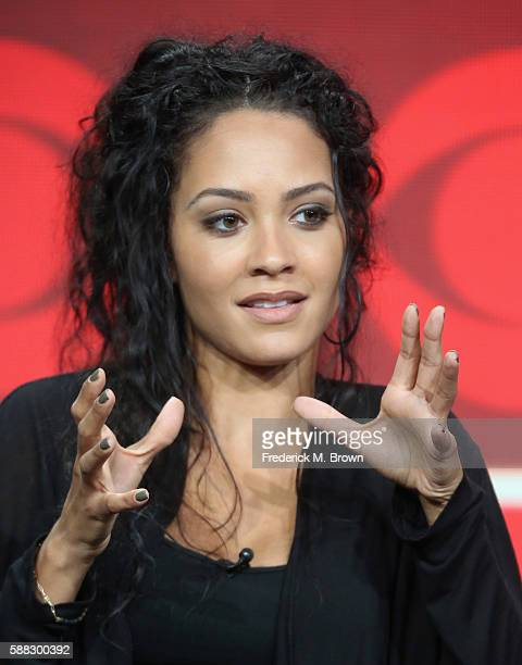 Actress Tristin Mays speaks onstage at the 'MacGyver' panel discussion during the CBS portion of the 2016 Television Critics Association Summer Tour...