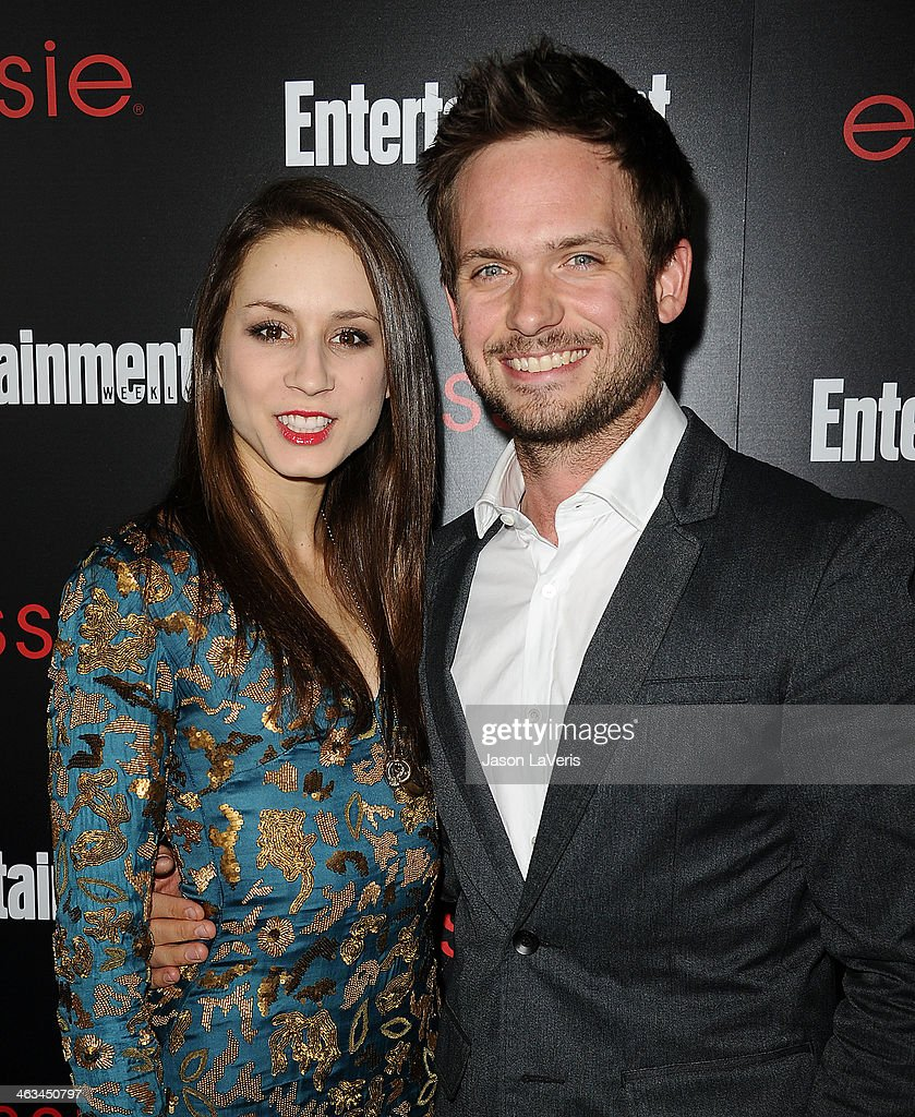 Actress Troian Bellisario and actor Patrick J. Adams attend the Entertainment Weekly SAG Awards pre-party at Chateau Marmont on January 17, 2014 in Los Angeles, California.