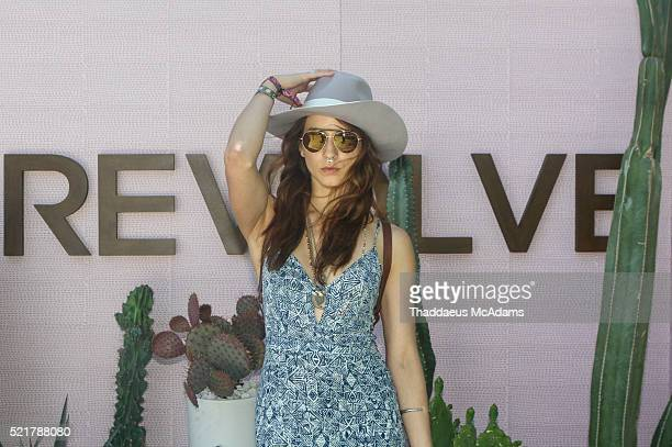 Actress Troian Bellisario arrives at REVOLVE Desert House on April 16 2016 in Palm Springs California