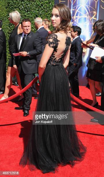 Actress Troian Bellisario arrives at the 2014 Creative Arts Emmy Awards at Nokia Theatre LA Live on August 16 2014 in Los Angeles California