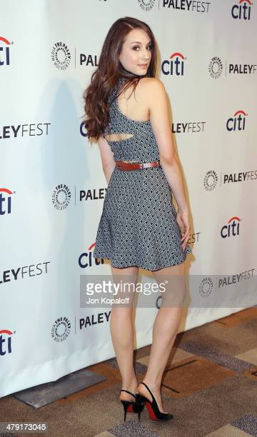 Actress Troian Bellisario arrives at the 2014 PaleyFest 'Pretty Little Liars at Dolby Theatre on March 16 2014 in Hollywood California