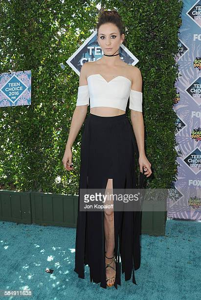 Actress Troian Bellisario arrives at the Teen Choice Awards 2016 at The Forum on July 31 2016 in Inglewood California
