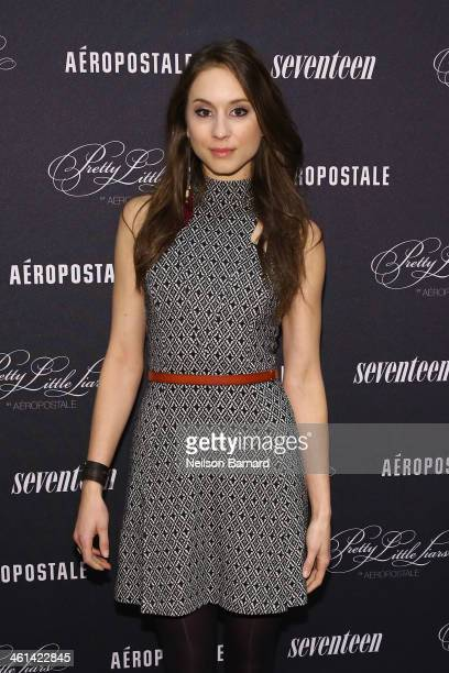 Actress Troian Bellisario attends the 'Pretty Little Liars' fashion collection launch event at Aeropostale Times Square on January 8 2014 in New York...