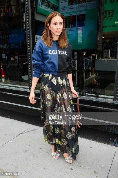 Actress Troian Bellisario enters the 'AOL Build' taping at the AOL Studios on April 20 2017 in New York City