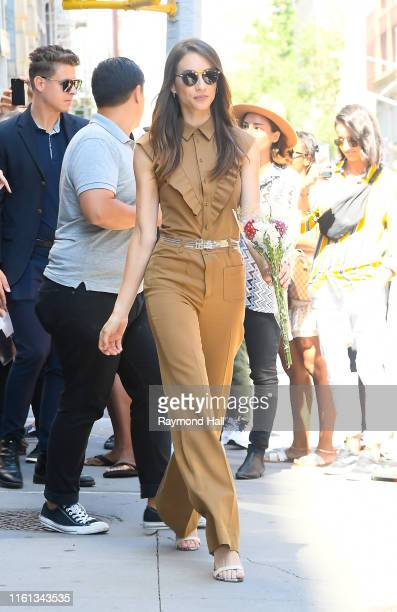 Actress Troian Bellisario is ssen outside build studio on August 12, 2019 in New York City.