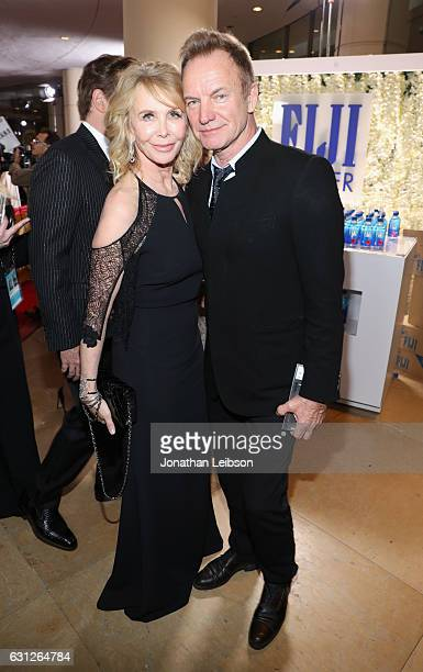 Actress Trudie Styler and musician Sting at the 74th annual Golden Globe Awards sponsored by FIJI Water at The Beverly Hilton Hotel on January 8 2017...