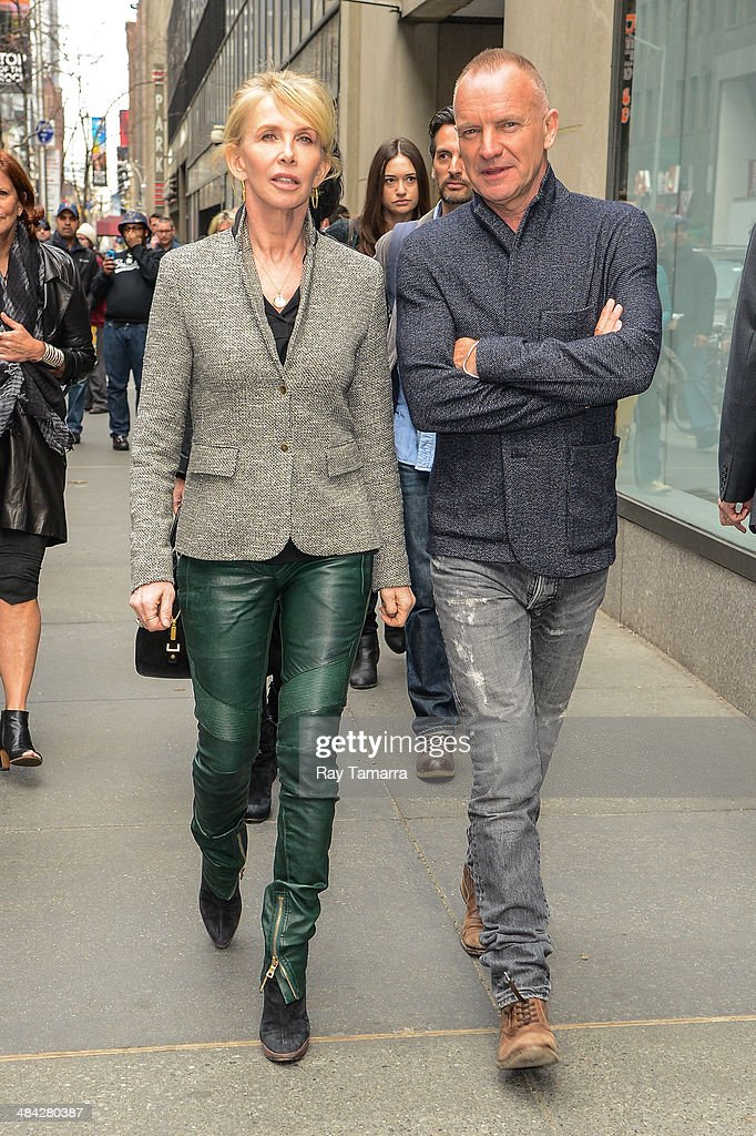 Actress Trudie Styler (L) and musician Sting leave the 'Today Show' taping at the NBC Rockefeller Center Studios on April 11, 2014 in New York City.