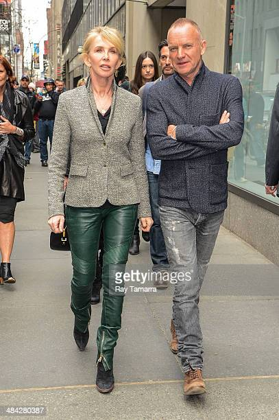 Actress Trudie Styler and musician Sting leave the 'Today Show' taping at the NBC Rockefeller Center Studios on April 11 2014 in New York City