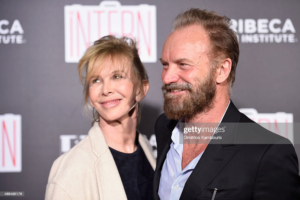 Actress Trudie Styler and recording artist Sting attend 'The Intern' New York Premiere at Ziegfeld Theater on September 21, 2015 in New York City.