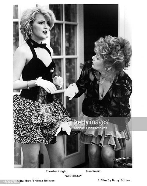 Actress Tuesday Knight and Jean Smart in a scene from the movie Mistress circa 1992