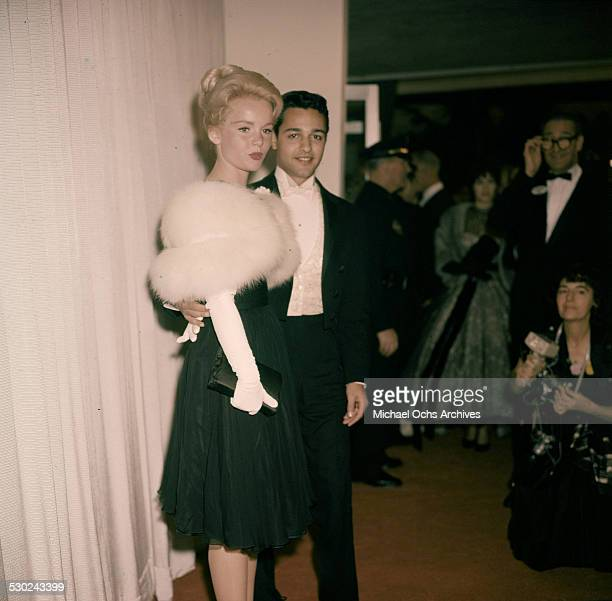 Actress Tuesday Weld and actor Sal Mineo attend an event in Los AngelesCA