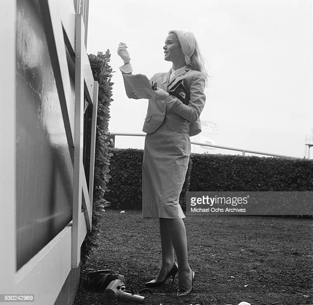 Actress Tuesday Weld attends a horse race in Los AngelesCA