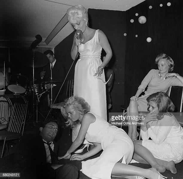 Actress Tuesday Weld falls down during an event in Los AngelesCA