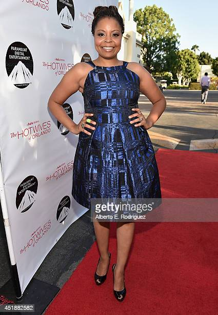 Actress Tymberlee Hill arrives to the premiere of Hulu's The Hotwives of Orlando at the Sherry Lansing Theatre at Paramount Studios on July 8 2014 in...