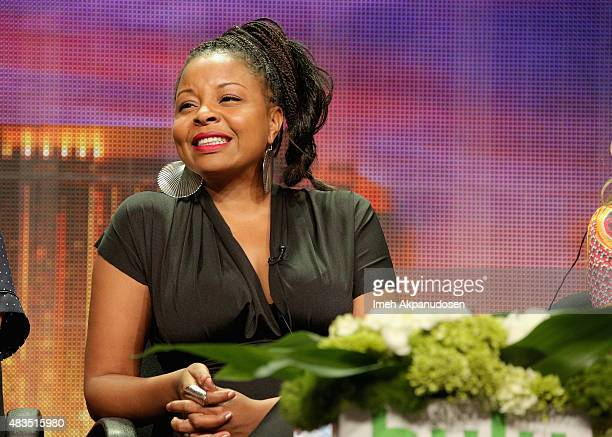 Actress Tymberlee Hill speaks onstage during The Hotwives of Las Vegas panel at the Hulu 2015 Summer TCA Presentation at The Beverly Hilton Hotel on...