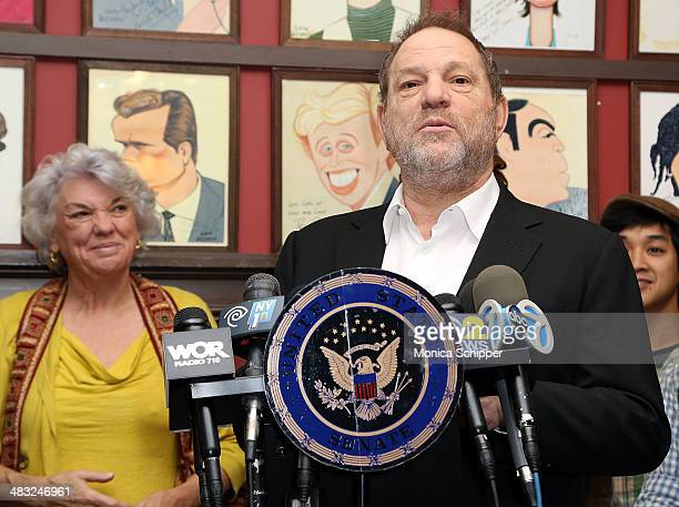 Actress Tyne Daly and producer Harvey Weinstein attend US Senator Charles E Schumer announces his campaign to give Broadway and live theater...