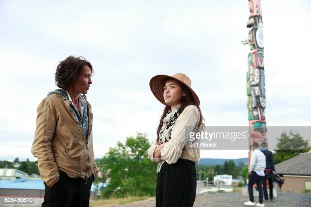 Actress Ulrike Folkerts and activist TaKaiya Blaney are seen on set during the shooting of the new documentary 'Guardians of Heritage Hueter der...