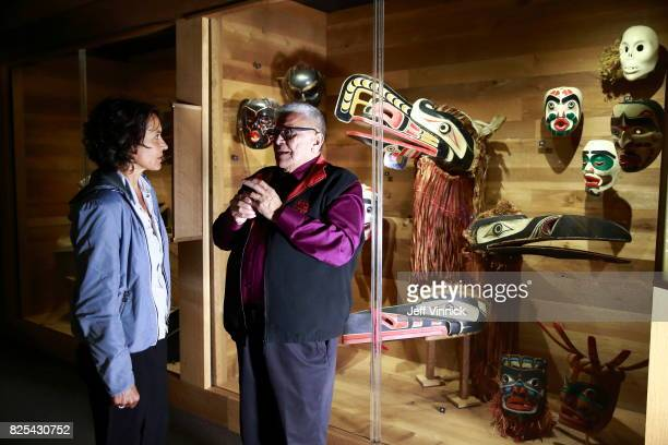 Actress Ulrike Folkerts and Robert Joseph hereditary chief of the Gwawaenuk First Nation are seen on set during the shooting of the new documentary...