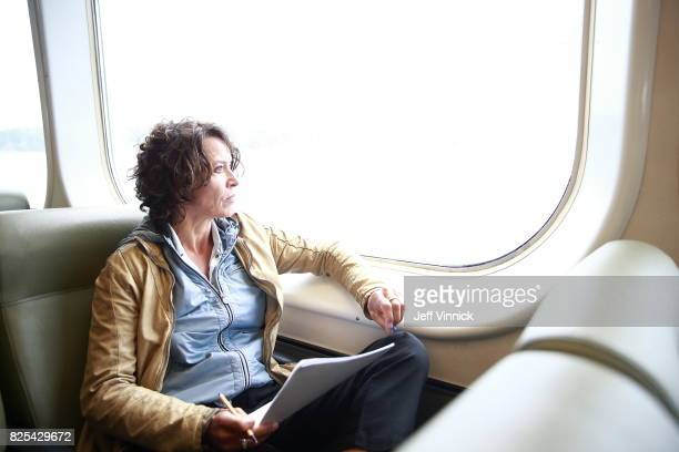 Actress Ulrike Folkerts is seen on set during the shooting of the new documentary 'Guardians of Heritage Hueter der Geschichte' by German TV channel...
