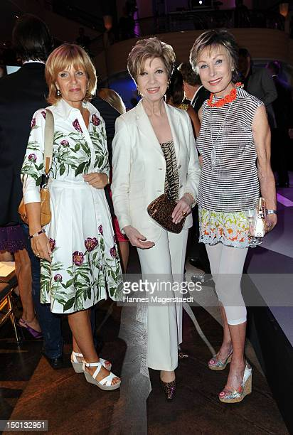 Actress Ulrike Kriener Carolin Reiber and AntjeKatrin Kuehnemann attend the Susanne Wiebe Munich Fashion Opening Show at Bayerischer Hof on August 10...