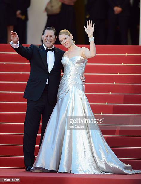 Actress Uma Thurman and Arpad Busson attend the 'Zulu' Premiere and Closing Ceremony during the 66th Annual Cannes Film Festival at the Palais des...
